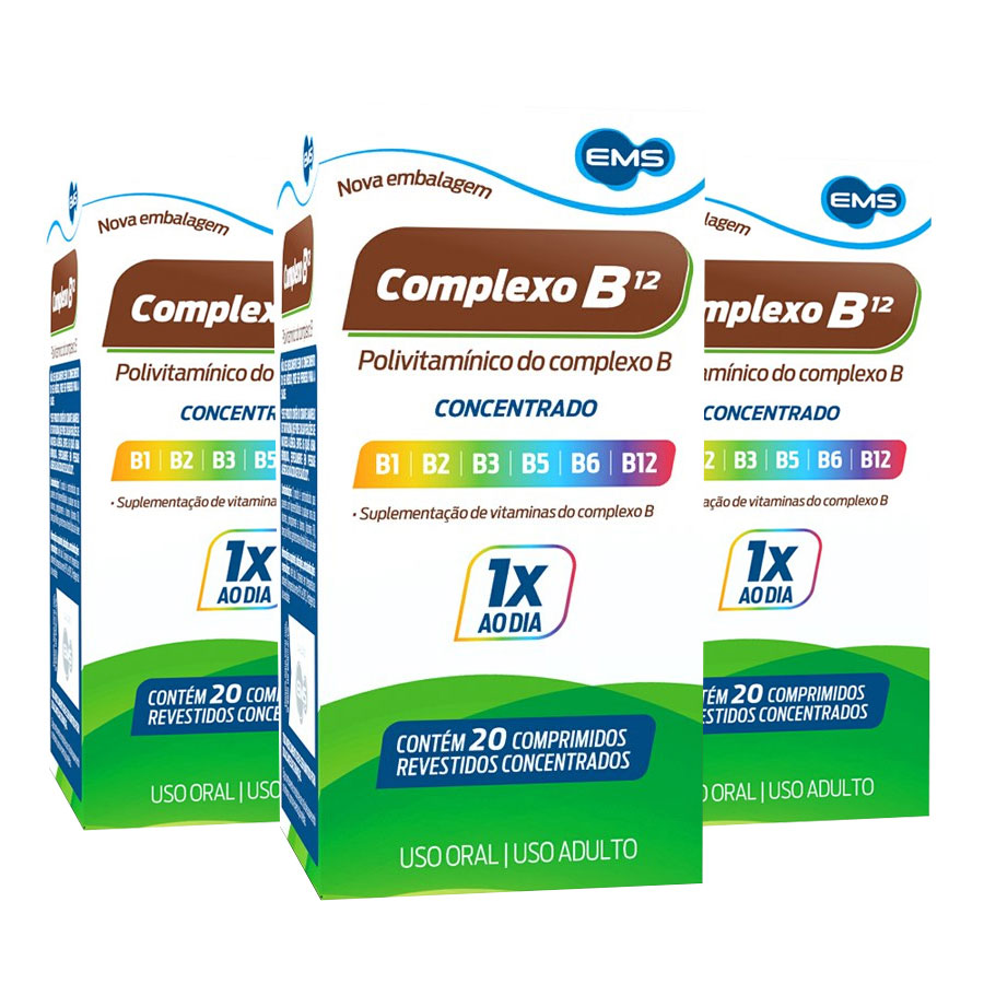 Kit 3 Complexo B Concentrado com 20 comprimidos cada EMS