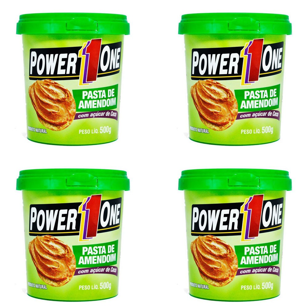 Kit 4 Power One Pasta Integral Amendoim 500g Açúcar De Coco