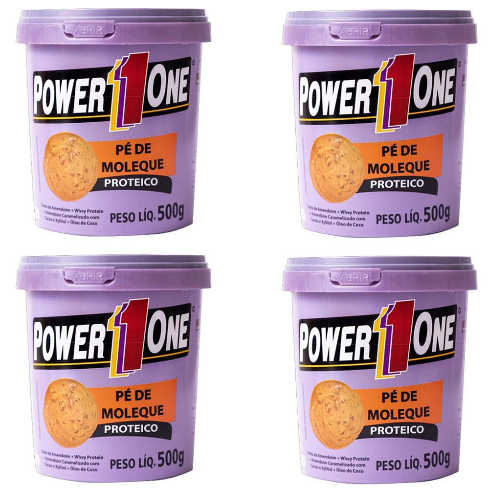 Kit 4 Power One Pasta Integral Amendoim 500g Pé de Moleque