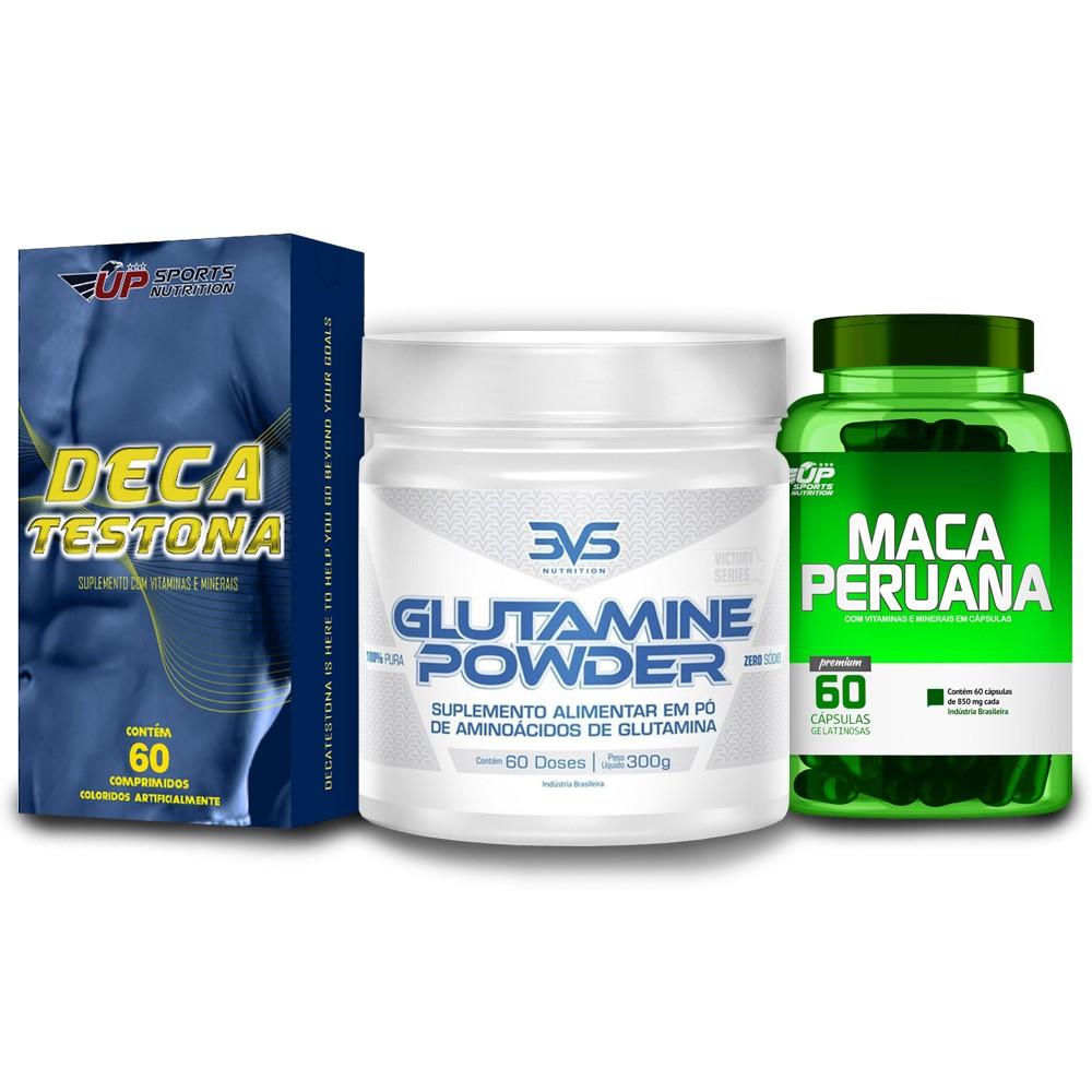 Kit Maca Peruana 850mg + Deca Testona + Glutamine Powder 300g