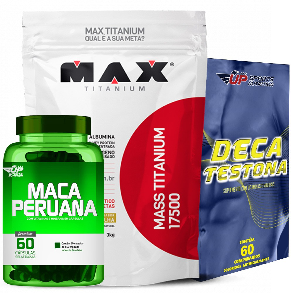 Kit Maca Peruana c/ 60 + Mass Titanium 3kg + Deca Testona