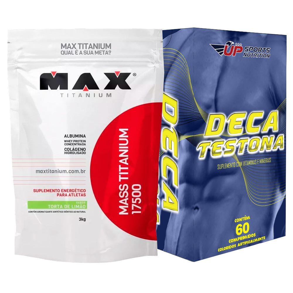Kit Mass Titanium 17500 3kg Limao + Deca Testona Com 60 comprimidos
