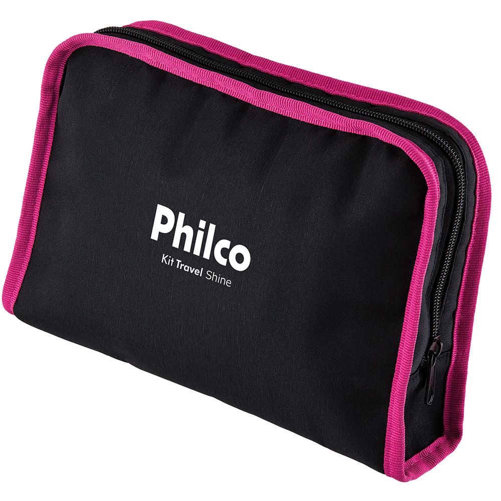 Kit Prancha + Secador Philco Travel Shine, Rosa - Bivolt