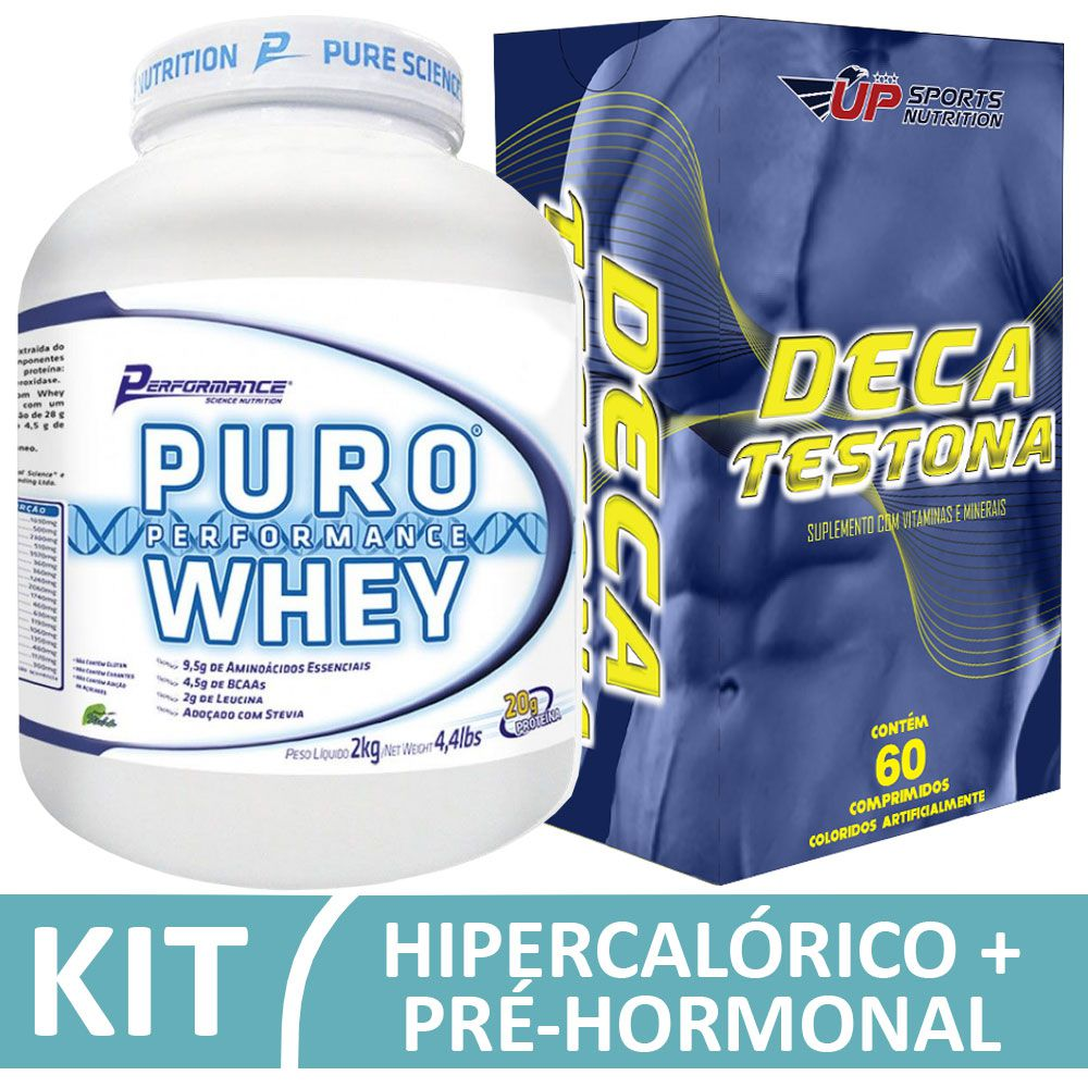 Kit Puro Whey Performande 2kg Morango + Deca Testona Com 60