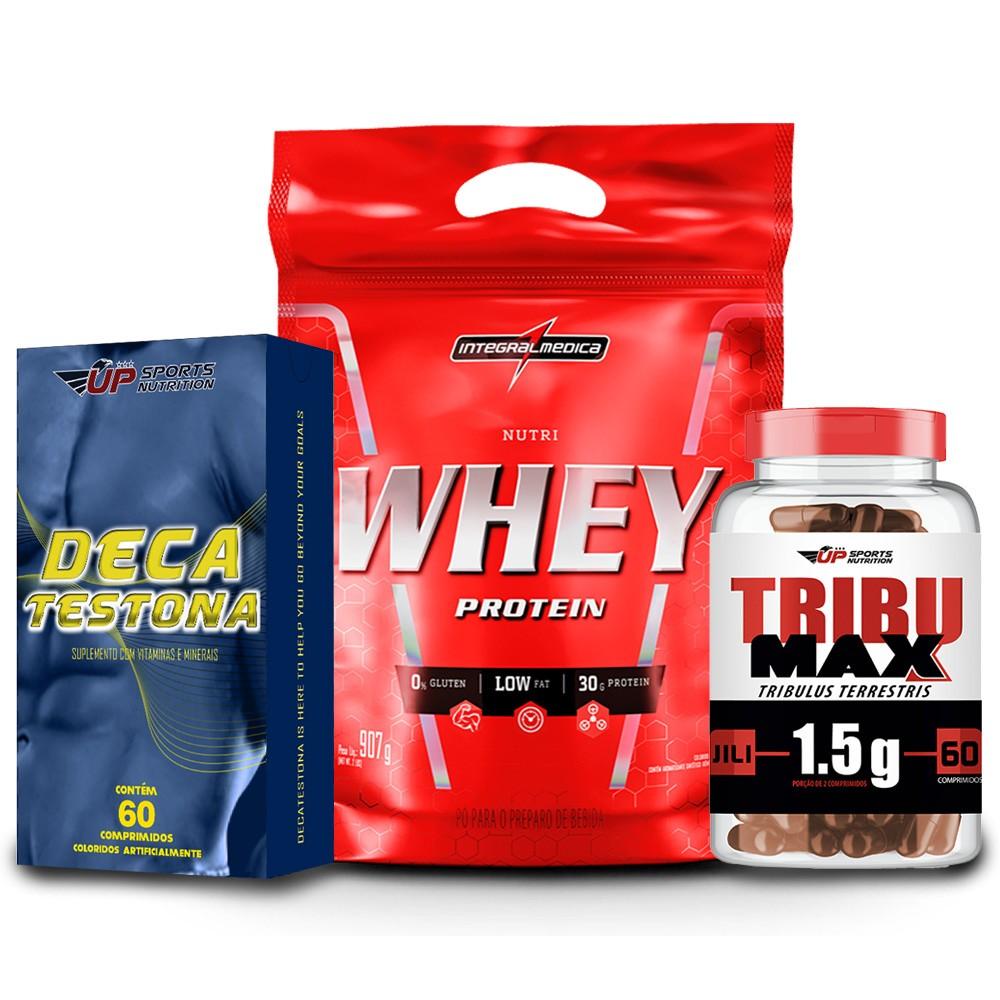Kit Tribulus Terrestris 1,5g + Deca Testona + Nutri Whey Protein 907g Chocolate