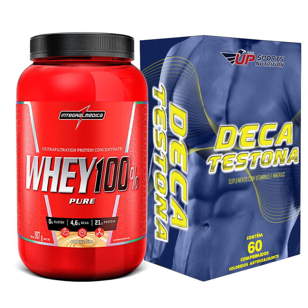 Kit Whey 100% Pure 907g Baunilha + Deca Testona Com 60 Comprimidos