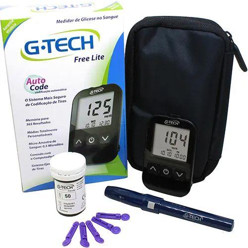 Medidor de Glicose G-Tech Free Lite Auto Code com 10 tiras de teste
