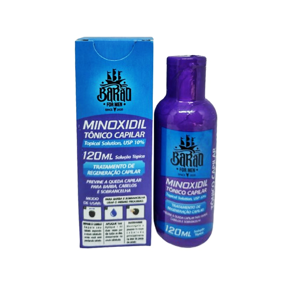 Minoxidil 10% 120mL Barba, Cabelos e Sobrancelha Barão
