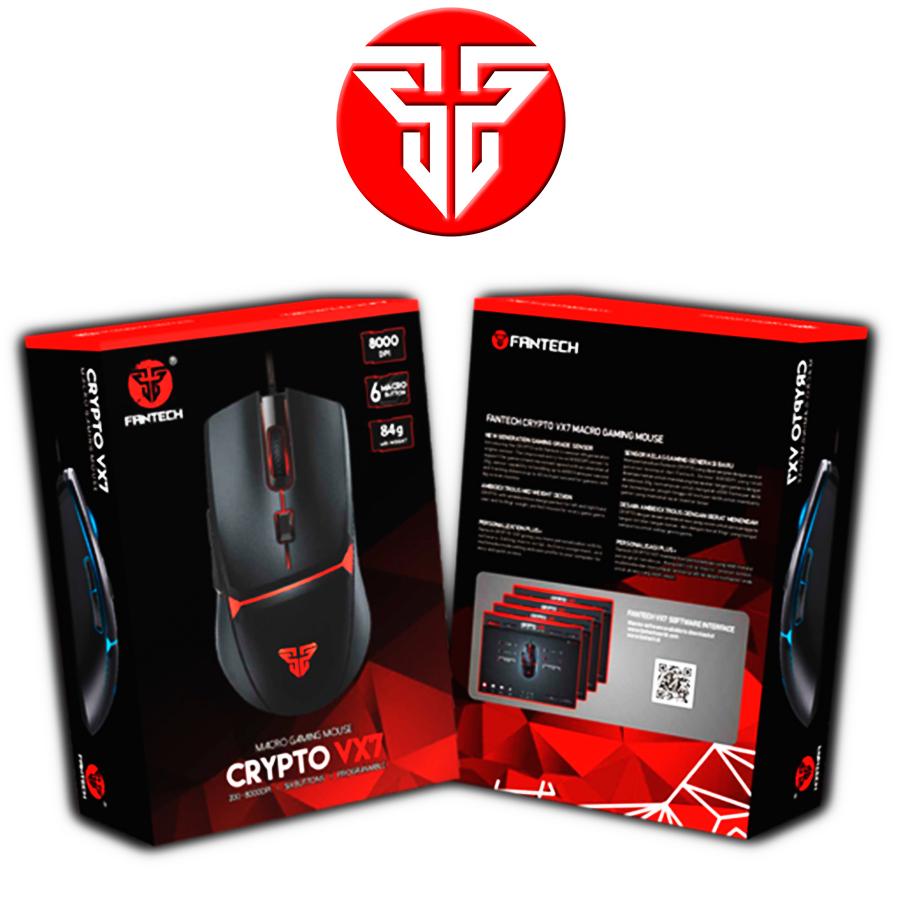 Mouse Gamer Jogo Macro Crypto VX7 Fantech 8000DPI 6 Botões
