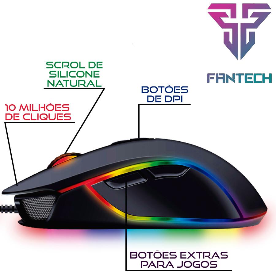 Mouse Gamer Jogo Macro RGB Fantech Thor X9 7 Botões 4800DPI