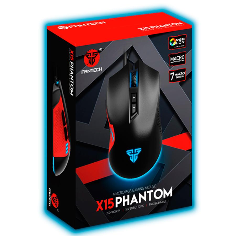Mouse para Jogos Macro RGB Fantech Phantom X15 7 Botões