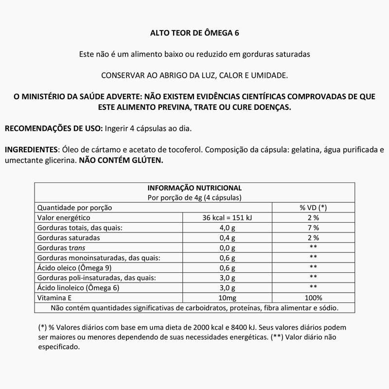 Óleo de Cartamo 1000mg com 60 cápsulas Up Sports Nutrition