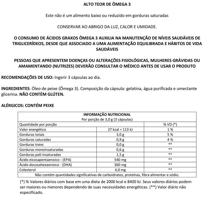 Omega 3 1000mg com 180 cápsulas Up Sports Nutrition
