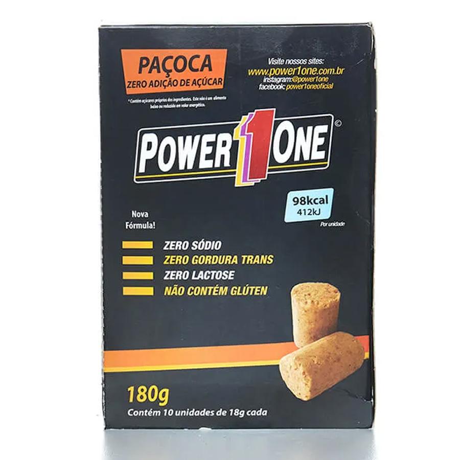 Paçoca Rolha Zero Açúcar Power 1 One Caixa com 10 Unidades