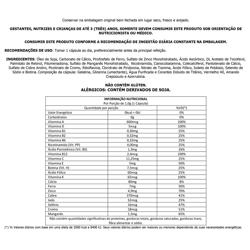 Polivitamínico 1000mg com 120 cápsulas Up Sports Nutrition