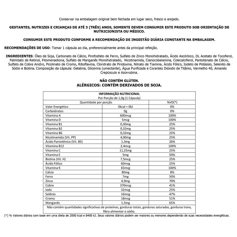 Polivitamínico 1000mg com 60 cápsulas Up Sports Nutrition