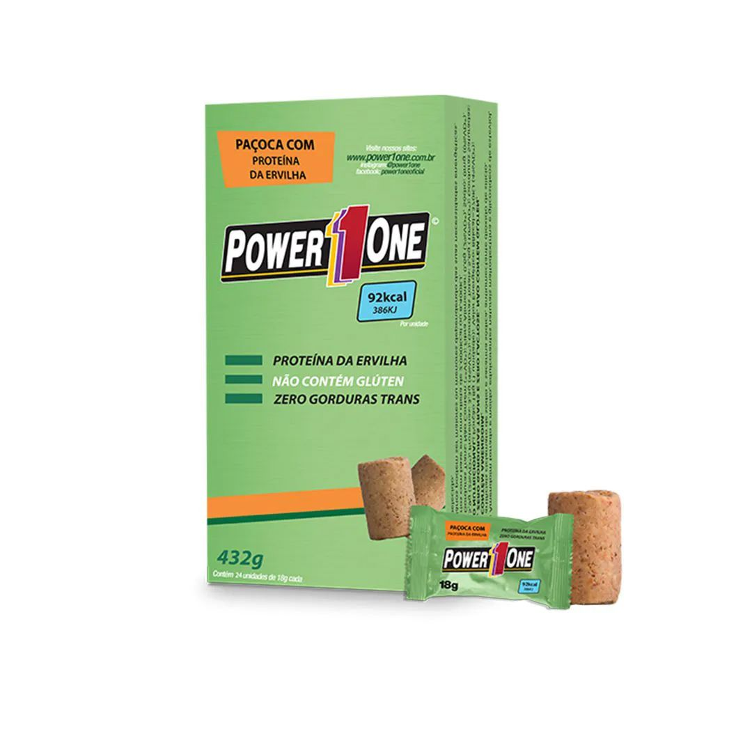 Power One Paçoca Rolha Proteina Da Evervilha 24 Unidades - 18g
