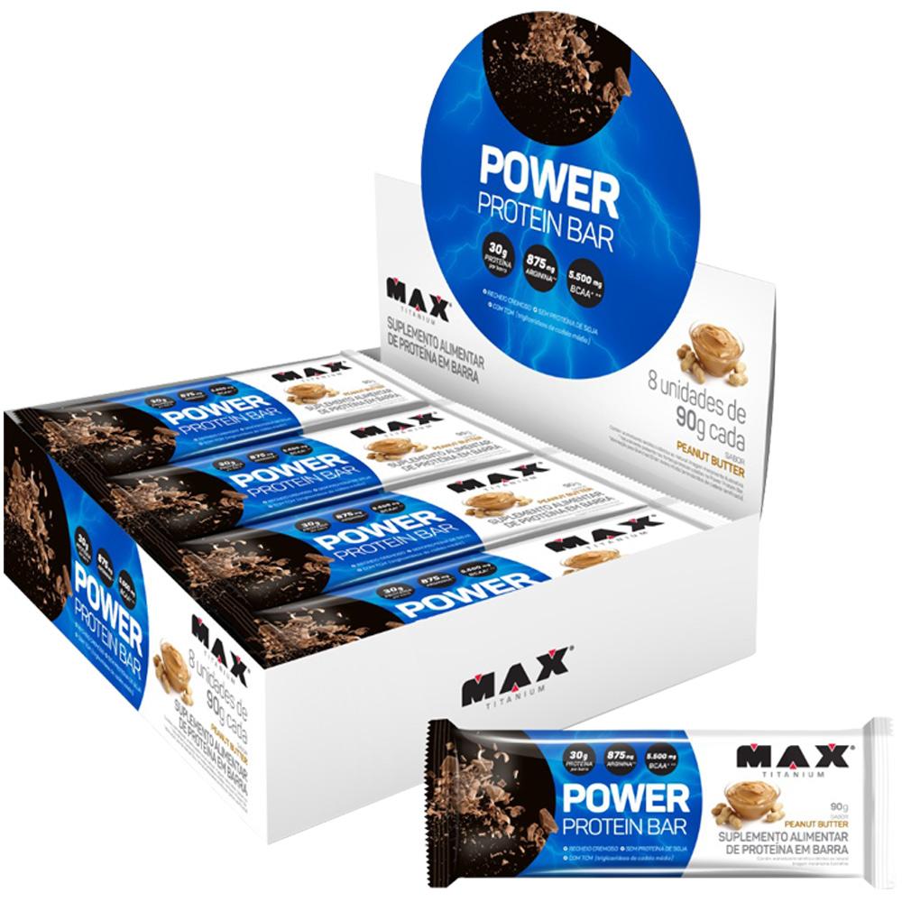 Power Protein Bar 8 unidades de 90g cada Max Titanium Peanut Butter