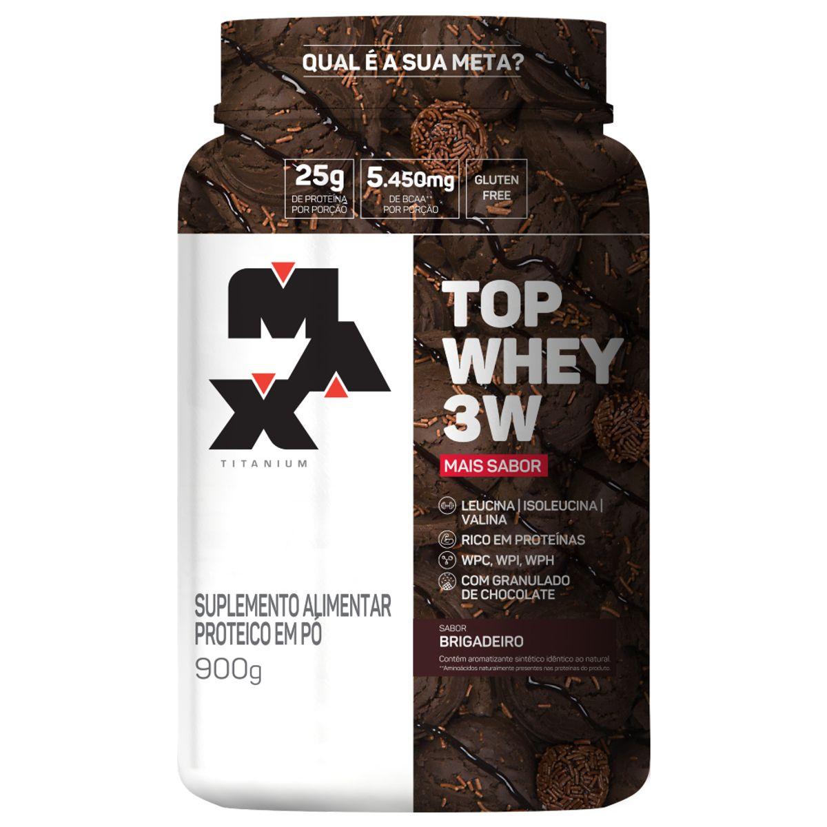 Top Whey 3W Mais Sabor 900g Brigadeiro Max Titanium