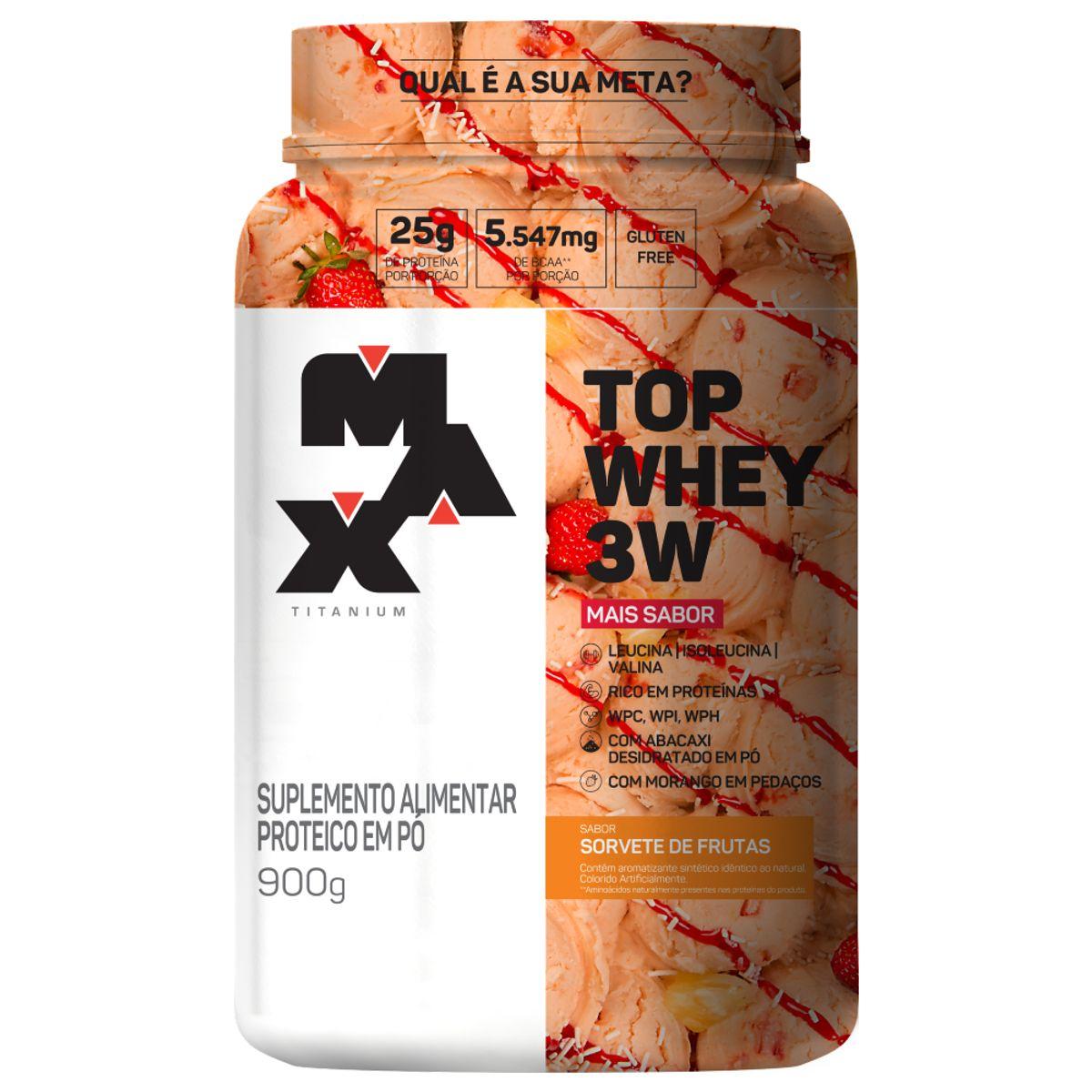 Top Whey 3W Mais Sabor 900g Sorvete de Frutas Max Titanium
