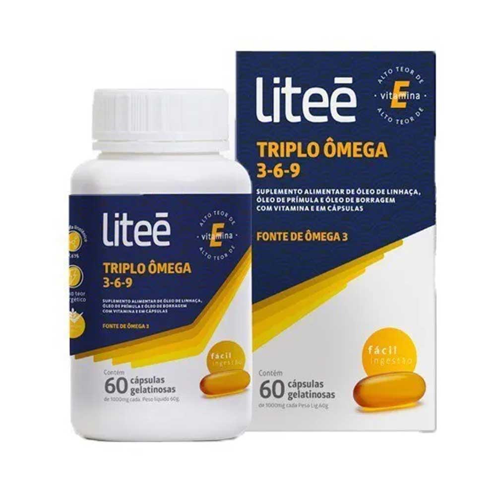 Triplo Ômega 3-6-9 1000mg com 60 cápsulas gelatinosas Litee
