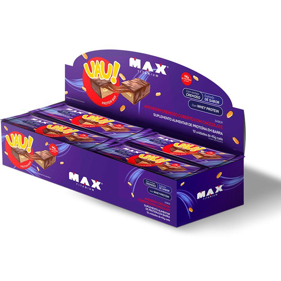 Uau Protein Bar Max Titanium 12un 45g Amendoim Cremoso
