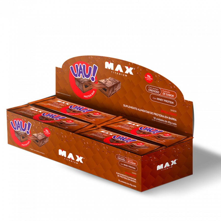 Uau Protein Bar Max Titanium 12un 45g Brigadeiro