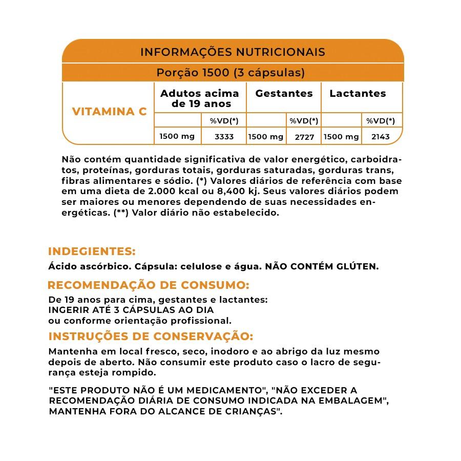 Vitamina C 1500mg com 60 cápsulas veganas WVegan