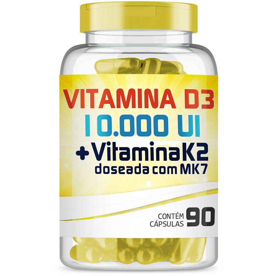 Vitamina D3 10.000UI + Vitamina K2 100mcg com 90 cápsulas