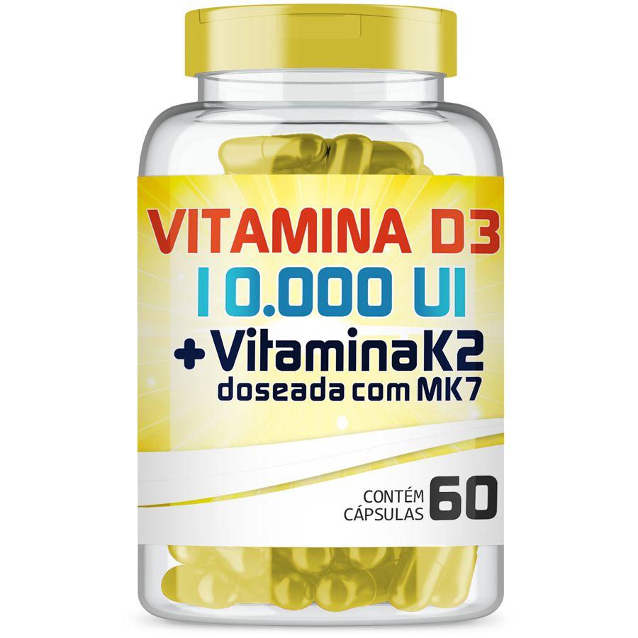 Vitamina D3 10.000ui + Vitamina K2 (mk-7) 200mcg com 60 Cápsulas