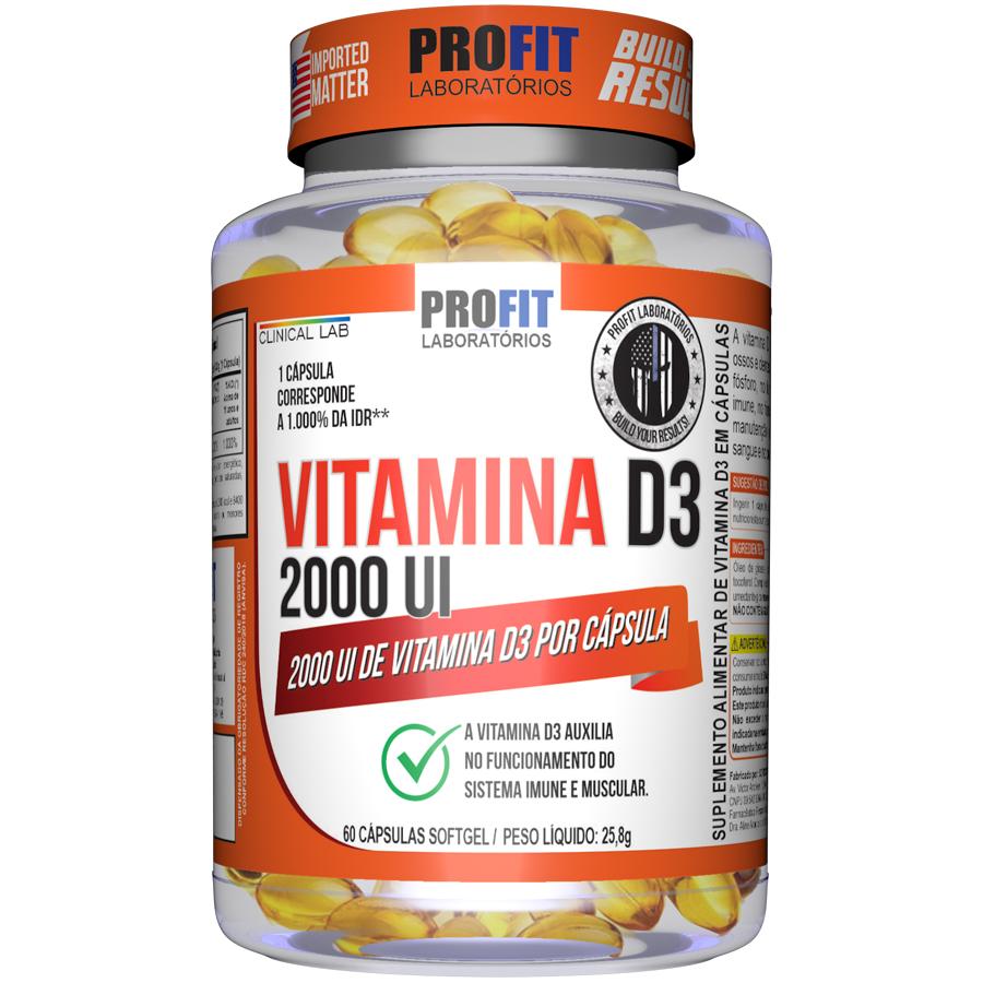 Vitamina D3 2000UI com 60 cápsulas Profit Imunidade Reforço