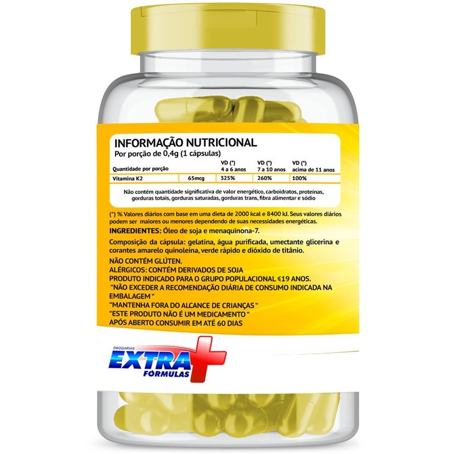 Vitamina K2 MK7 Menaquinona com 60 cápsulas