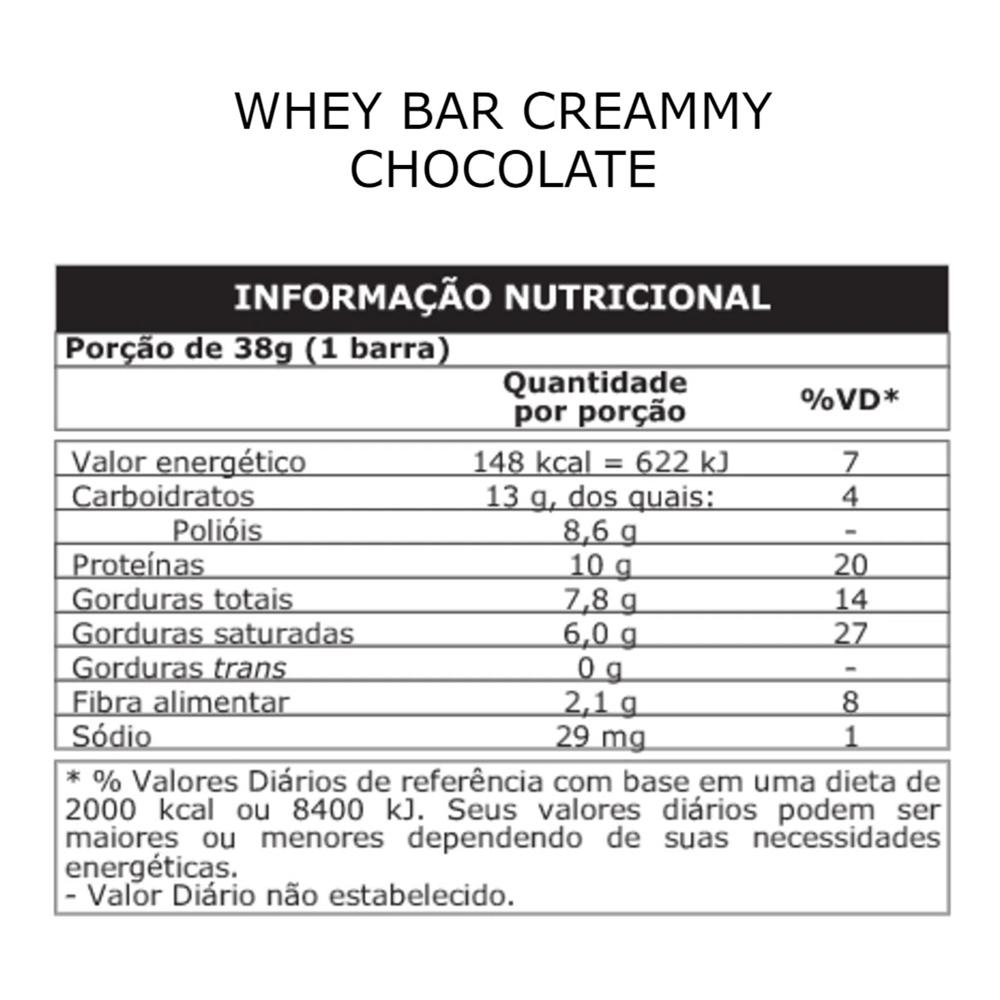 Whey Bar Creamy 12 Unidades 456g Sabor Chocolate Probiotica