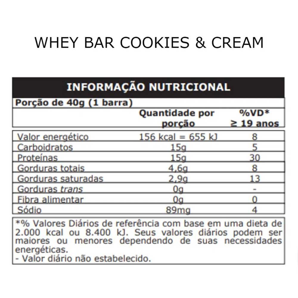 Whey Bar Whey Protein 24 Unidades Sabor Cookies Probiótica