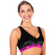 TOP TRADICIONAL ESPORTIVO CHIQUE PRETO E ROSA FLUOR TOP MODEL