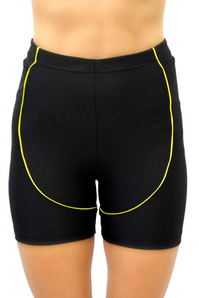 BERMUDA CURTA BIKER PRETO E VERDE LEMON TOP MODEL