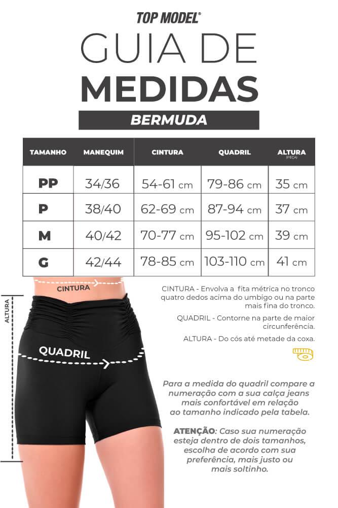 BERMUDA CURTA CIRRE CÓS ALTO PRETO TOP MODEL