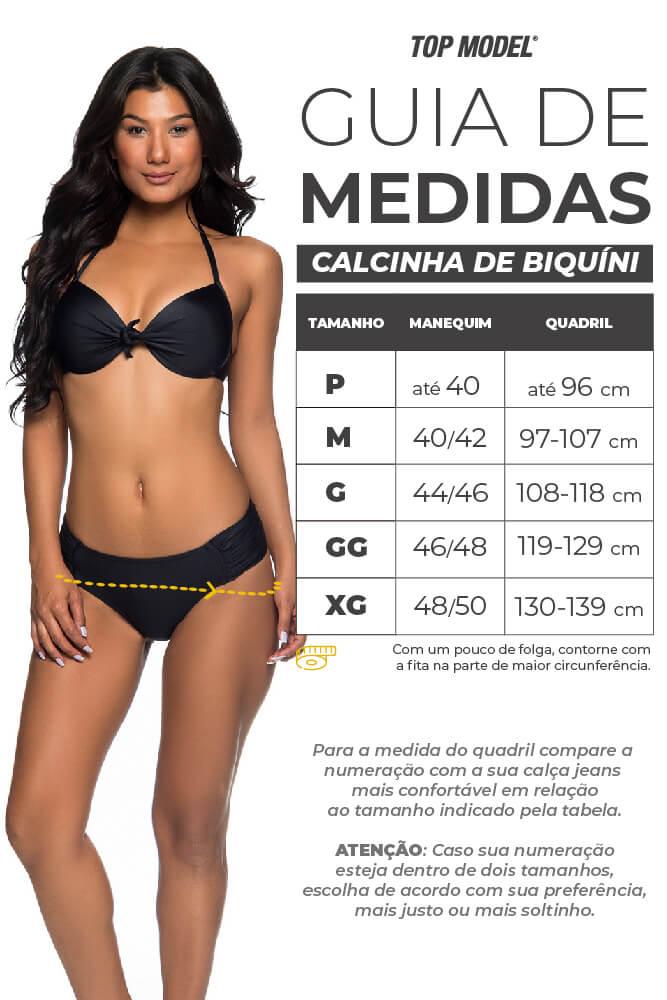 Biquíni Calcinha Larga - Tabela de Medidas