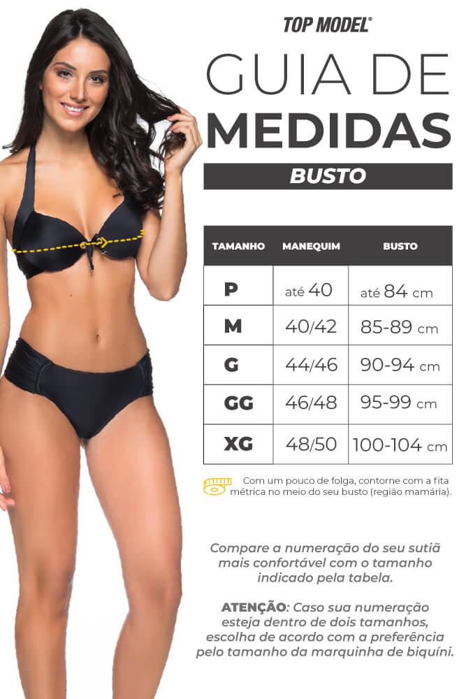 Biquíni Meia Taça Bojo Bolha - Tabela de Medidas