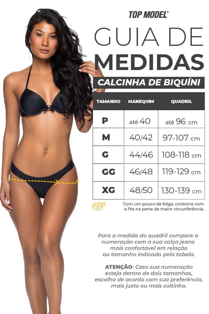 Biquíni Drapeado Frente e Costas Iguais - Tabela de Medidas