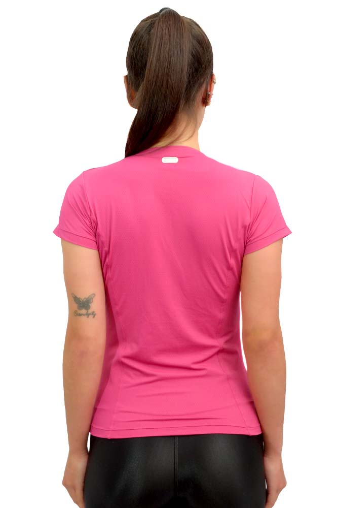 BLUSA BABY LOOK FUNIL NEW TRIP ROSA LICHIA TOP MODEL