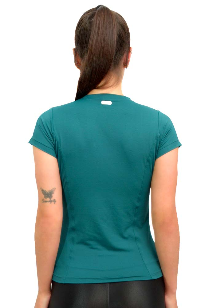 BLUSA BABY LOOK FUNIL NEW TRIP VERDE ÉDEN TOP MODEL