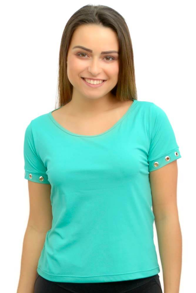 BLUSA MANGA CURTA ALANA LINK CO² VERDE SEREIA TOP MODEL