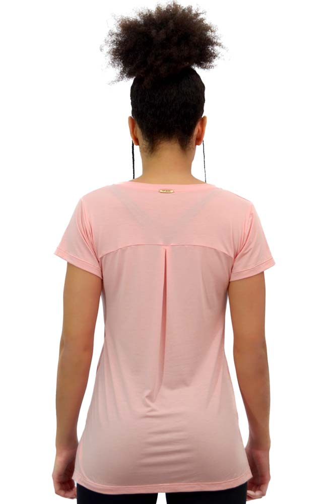 BLUSA MANGA CURTA FASHION ROSA TOP MODEL