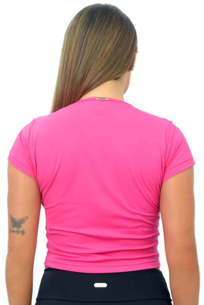 BLUSA MANGA CURTA K ROSA PINK BATOM TOP MODEL