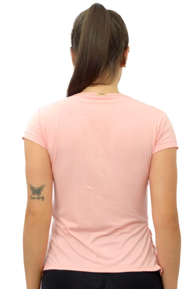 BLUSA MANGA CURTA TRANSPASSADA ROSA TOP MODEL