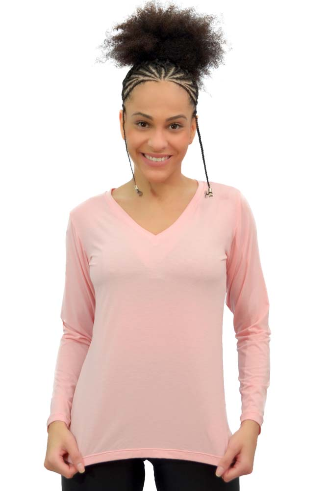 BLUSA MANGA LONGA FASHION ROSA TOP MODEL