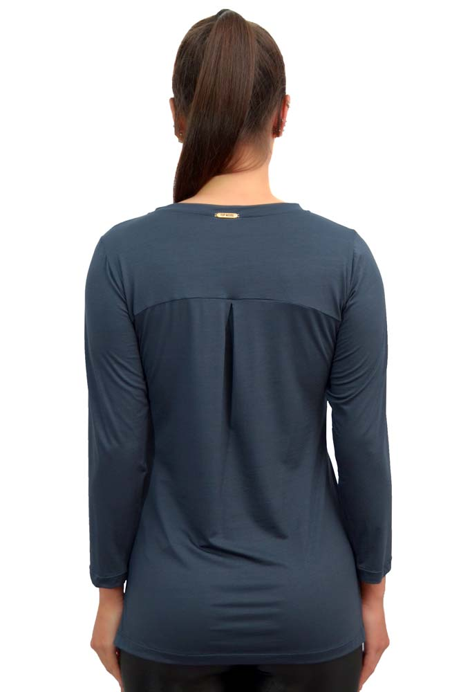 BLUSA MANGA 3/4 LU STRETCH AZUL TOP MODEL