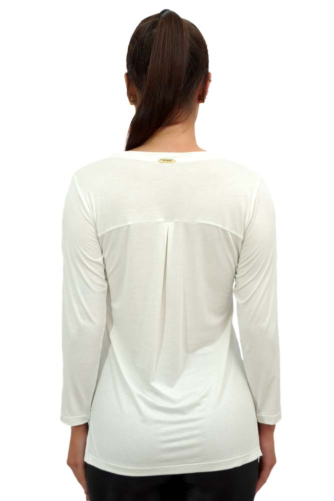 BLUSA MANGA 3/4 LU STRETCH BRANCA TOP MODEL