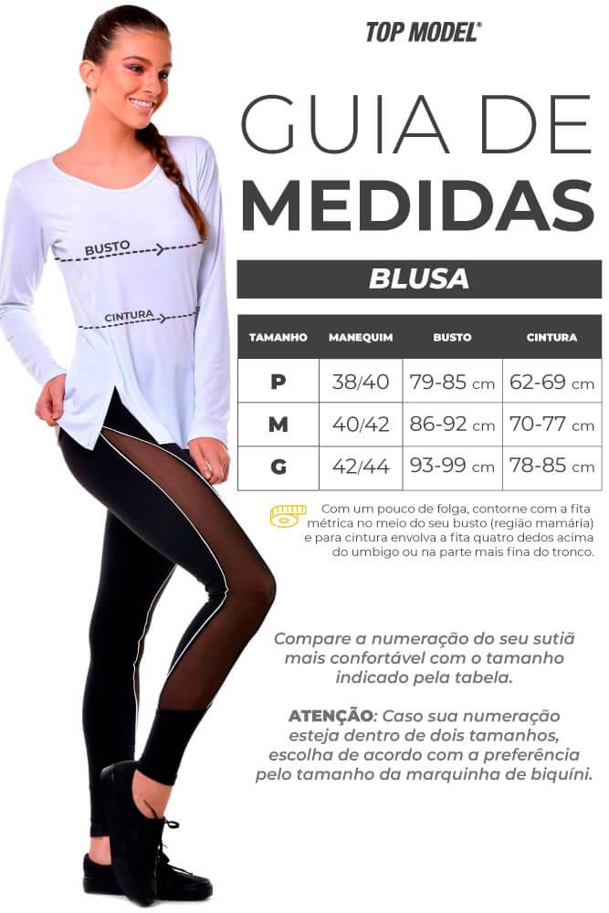 BLUSA MANGA 3/4 LU STRETCH PRETO TOP MODEL